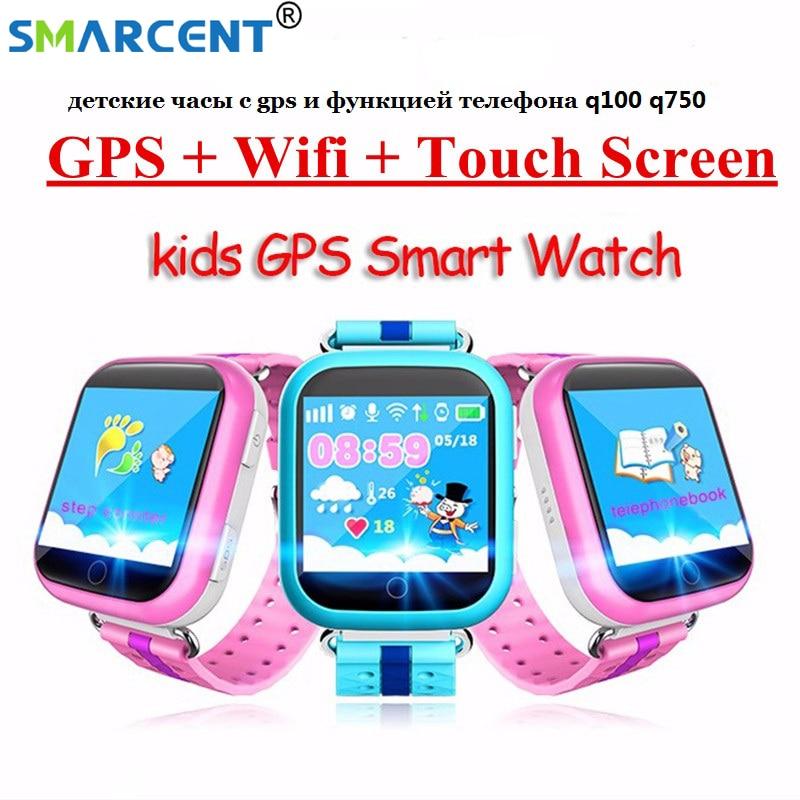 imágenes para GPS reloj inteligente Q750 Q100 baby watch con Wifi táctil de 1.54 pulgadas pantalla SOSCall Ubicación Tracker Dispositivo de Seguros para Niños PK Q50 Q60 Q80