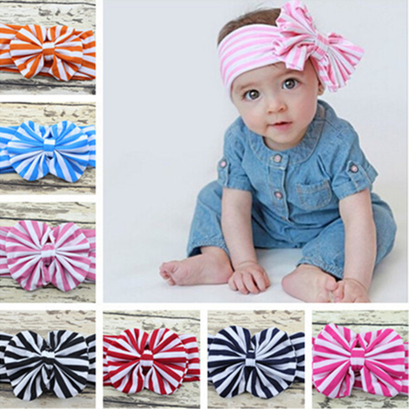 e32af2a5242 1PC Hot Sale Baby Girl Striped Knot Headband Kids Turban Knitted Hair  Accessories Children Cross Headwear