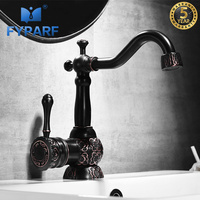 FYPARF Gold Bathroom Sink Faucets Vanity Bathroom Water Tap Single Handle Long Spout 360 Rotation Sink Mixer China Sanitary Ware