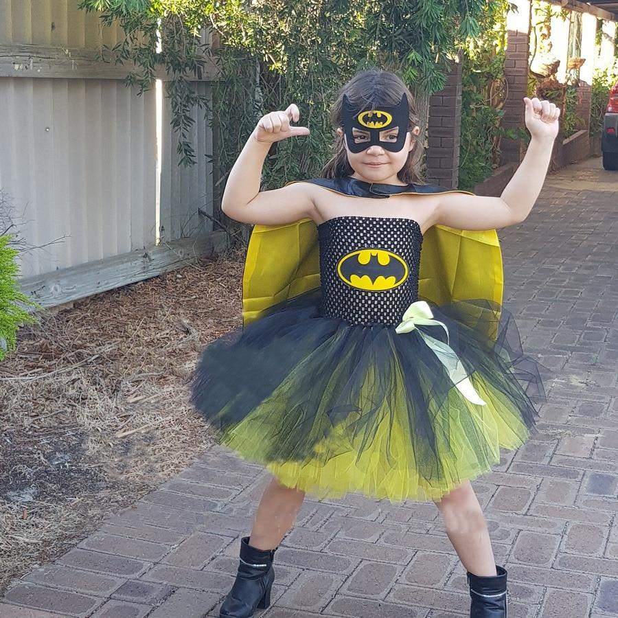 7c1da9038e859 Bat Man Superhero Girls Tutu Dress with Mask Children Halloween Cosplay  Costume Bat Girl Kids Tulle