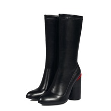 fashion black boots women winter 2016 women's boots ankle boot new fashion autumn Genuine Leather Mid-Calf Round Toe Square heel