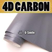 Dark Grey 4D Carbon Fiber Sticker Decal Gray 4D Carbon Car Vinyl Wrap Bubble Free For Vehicle Wraps Size:1.52X30M/Roll