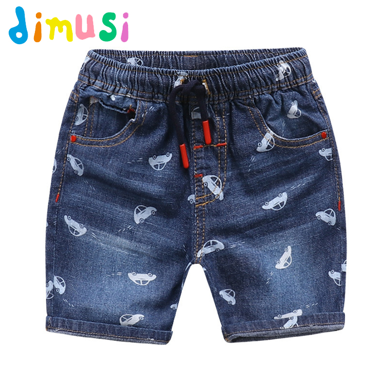 DIMUSI Boys car printing Jeans Ripped Shorts for Boys Summer Panties Jeans Shorts for Children Girls Shorts for Kids BC069