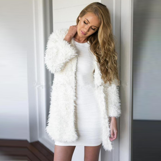 AREALNA Winter Women White Faux Fur Coat Long Sleeve jacket Women ...