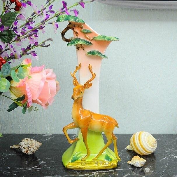 Chinese Ceramic Enamel Porcelain Sika Deer Vase Popular Ceramic