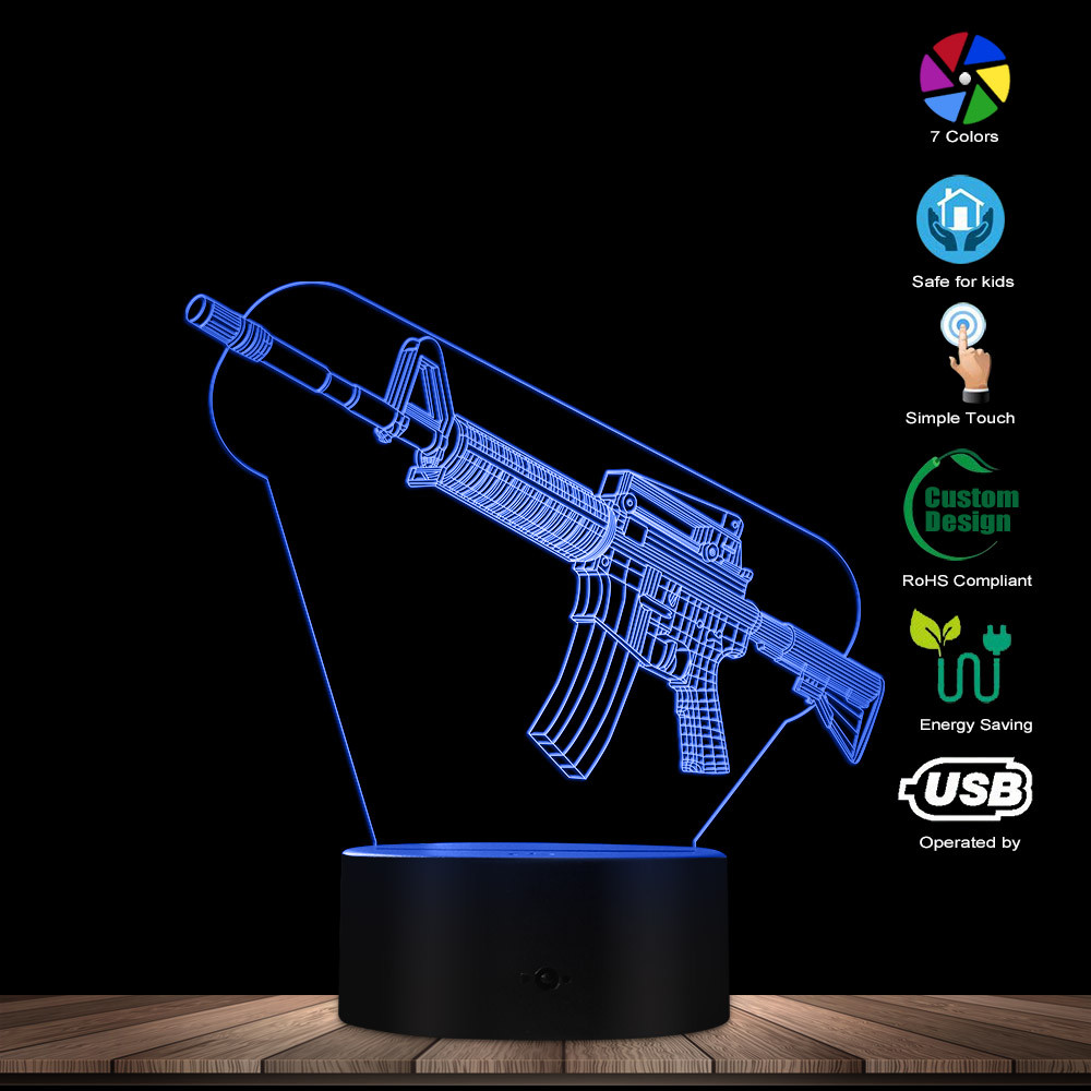 Image 2 - Optical illusion Table Lamp Machine Gun Design 3D Acrylic Lights Military Weapon AK Gun Night Light Gift for Gun EnthusiastsNovelty Lighting   -