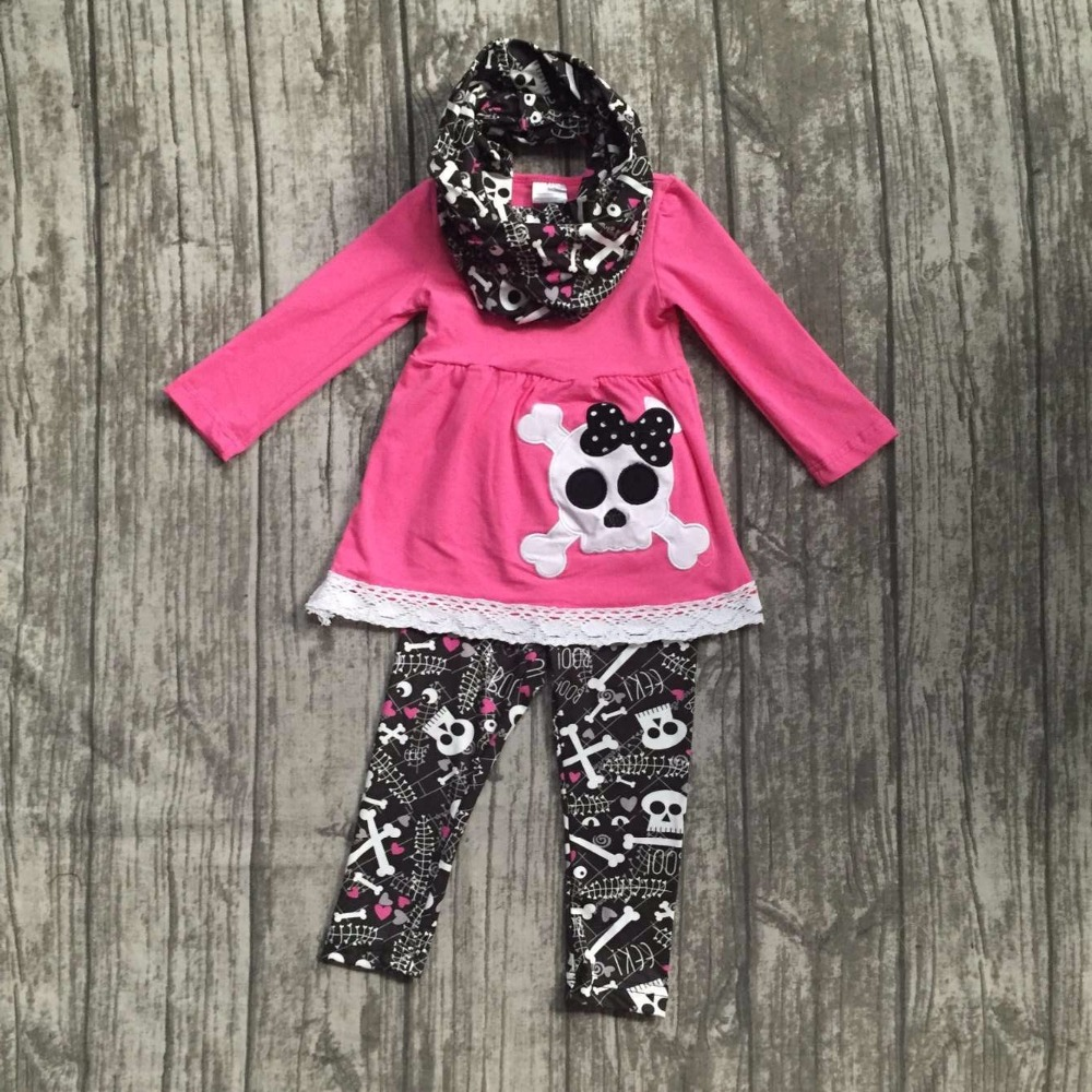 new Halloween FALL/Winter baby kids outfits 3 pieces scarf hot pink top skull pant sets girls cotton lace boutique clothes sets 2016 new arrival baby girls outfits halloween baby kids boutique baby girl halloween sets with necklace and headband leg warmers