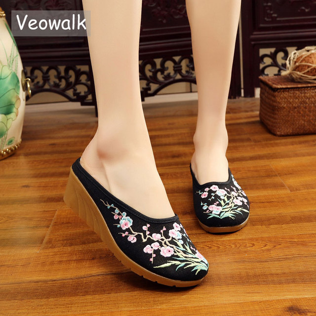 Veowalk High End Floral Embroidered Womens Casual Canvas Wedge Slippers Medium Heel Summer Comfot Slides Shoes Sandials Mujer