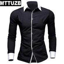 MTTUZB Men solid color long sleeve turn-down collar shirt men's casual business formal shirts male work dress shirt costume