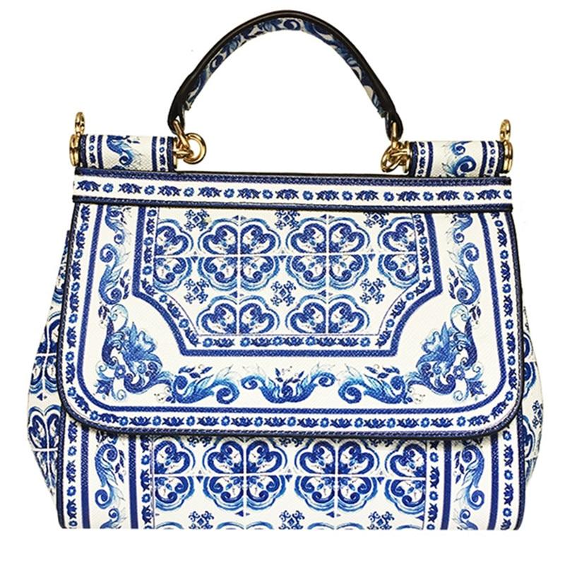 Blue White Tote Bags Women Handbag Genuine Leather Shoulder BagBlue White Tote Bags Women Handbag Genuine Leather Shoulder Bag