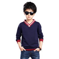 2017 Big Kids T-Shirts For Boys Children Clothing Cotton V-Neck Tees Long Sleeve Striped Boys Tops Spring Autumn School Clothes