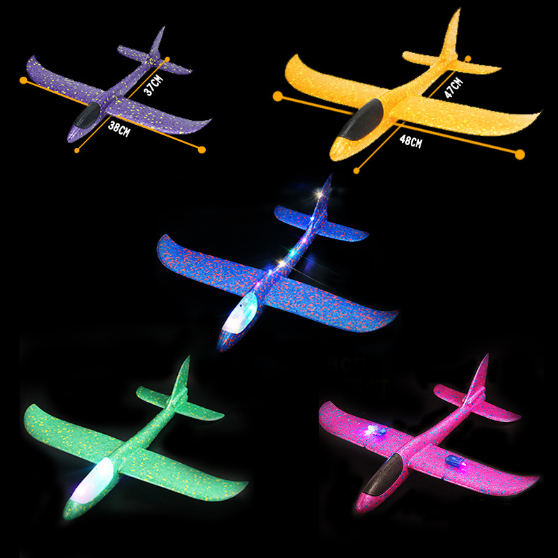 2020 DIY Hand Throw LED Lighting Up Flying Glider Plane Toys Foam Airplane Model Outdoor Games Flash Luminous Toys For Children