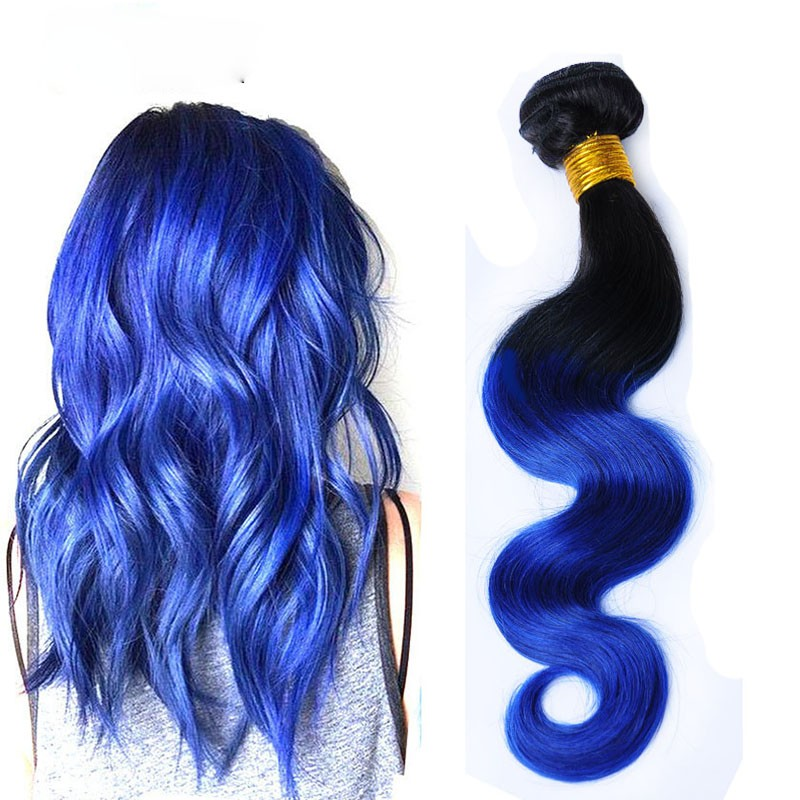 Two-Tone-Color-1B-Blue-Ombre-Brazilian-Hair-Extensions-Straight-7A-Ombre-Human-Hair