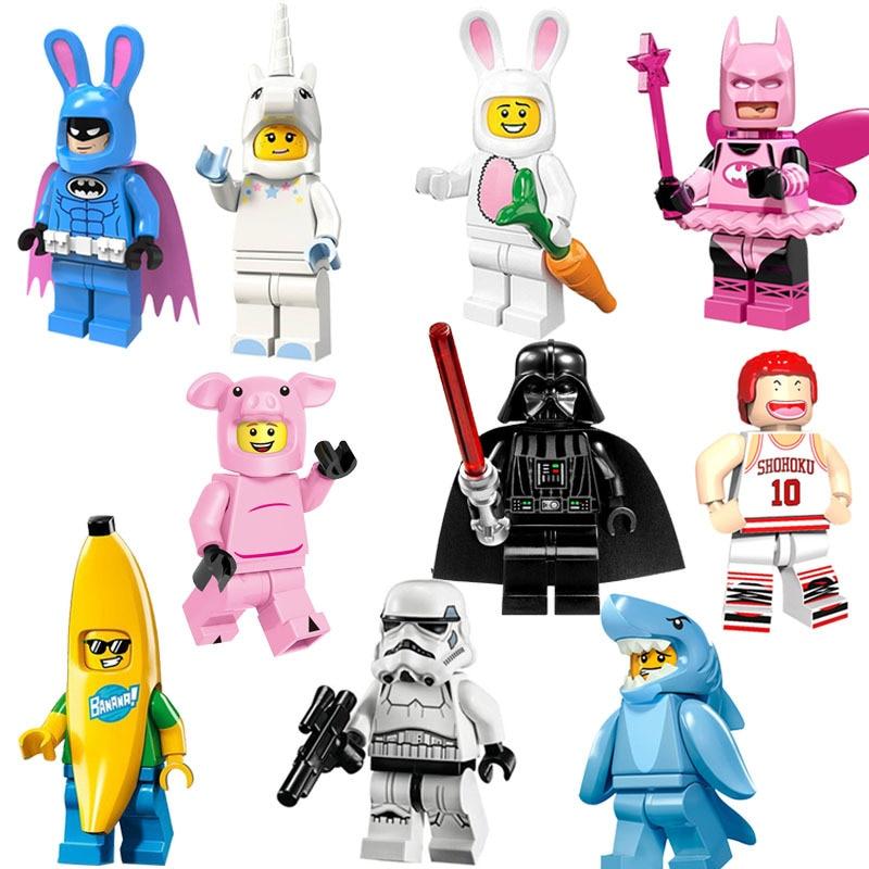 Hot Selling Building Blocks Educational Rabbit Batman Fairy Sharkman Unicorn Action Figure Toy For Kid Assembly Bricks Models