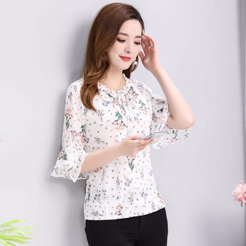 Women Spring Summer Style Chiffon   Blouses     Shirts   Lady Casual Half Sleeve Bow Tie Decor Blusas Tops DF2651
