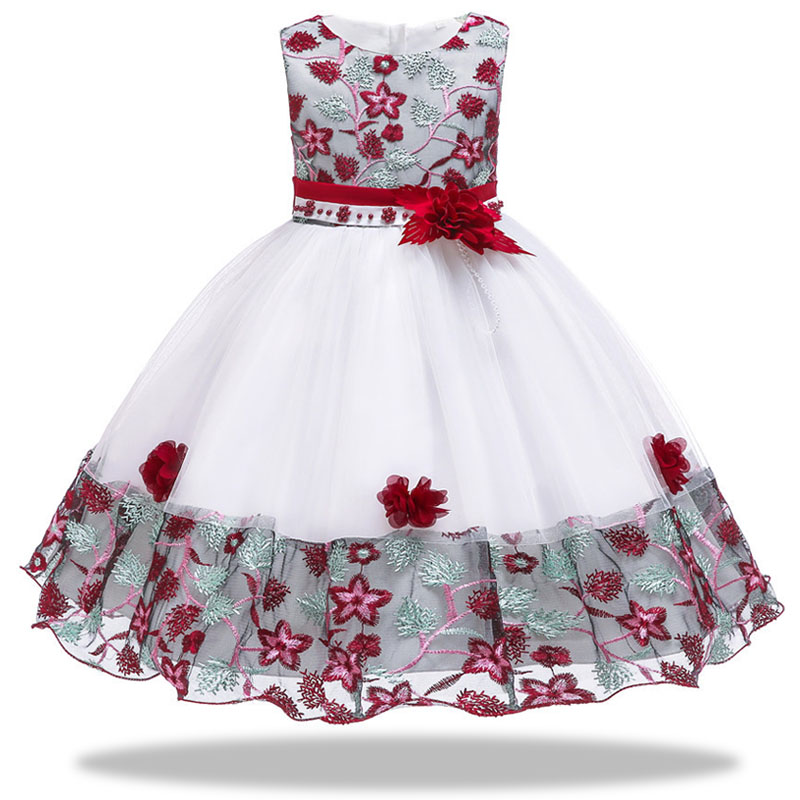 Romantic wedding party   flower     girl   Bridesmaid group   girl   embroidered Petal   Dress   children's school performance party   dress