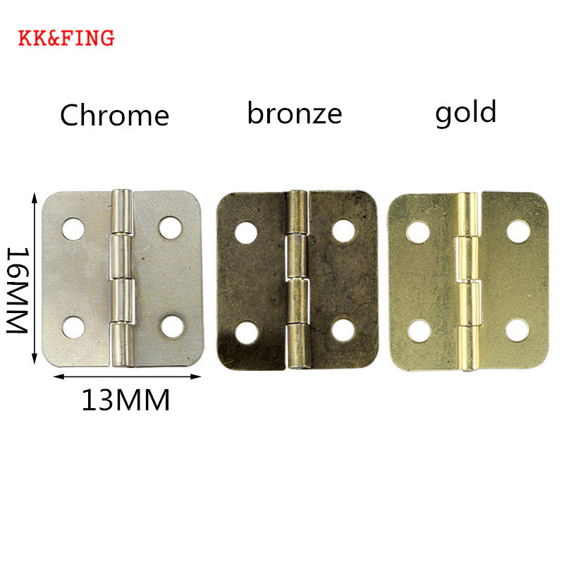 KK&FING 50PCS Vintage Jewellery Box Hinge Mini Bronze Decoration Door Hinges For Antique Wooden Cabinet Furniture Hardware