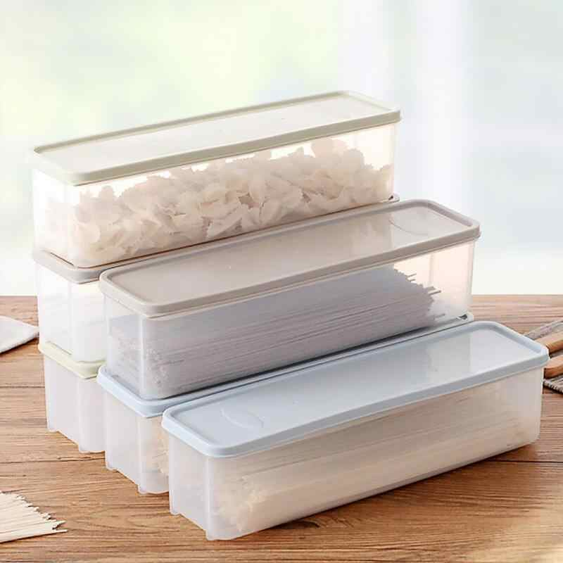 Refrigerator Plastic Cover Noodle Storage Box Food Storage Box Kitchen  Grain Noodles Sealed Box Spaghetti Container