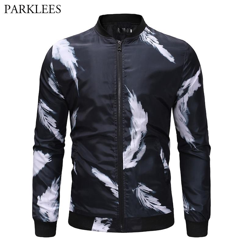 White Feather Print Jacket Men 2018 Brand New Fashion Slim
