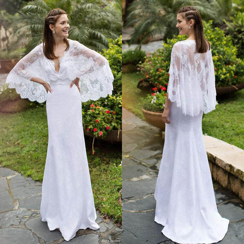 Sheath Wedding Dresses 2019: 2019 New Lace Beach Wedding Dress With Detachable Cloak V