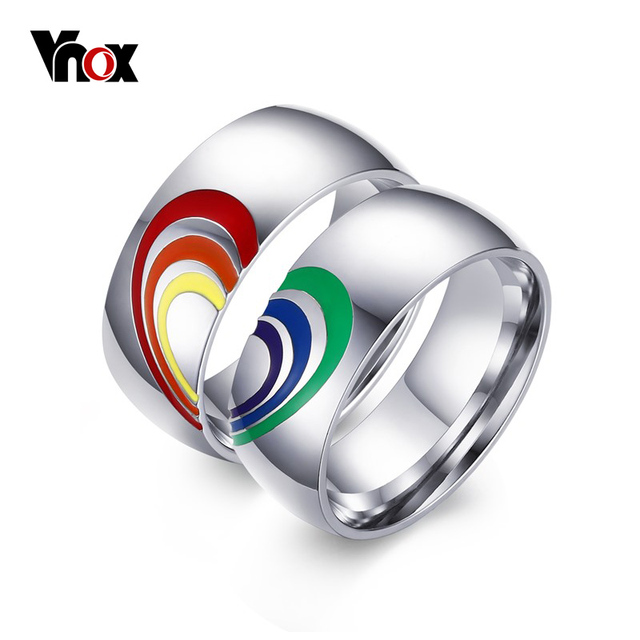 vnox heart rainbow ring gay and lesbian lgbt pride wedding rings unique - Rainbow Wedding Rings