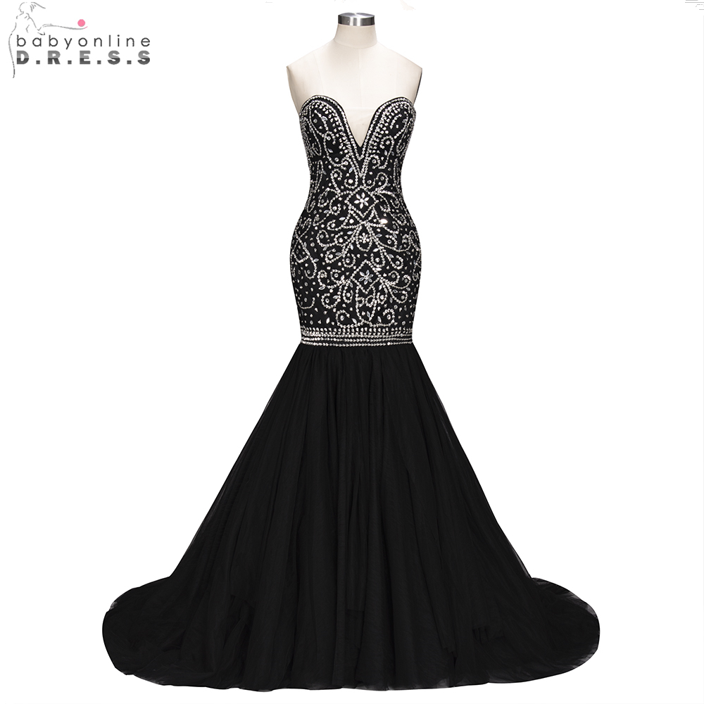 Babyonline Luxurious Black Mermaid Beading Crystal   Evening     Dresses   2019 Sweetheart Formal Party   Dresses   vestido de festa longo