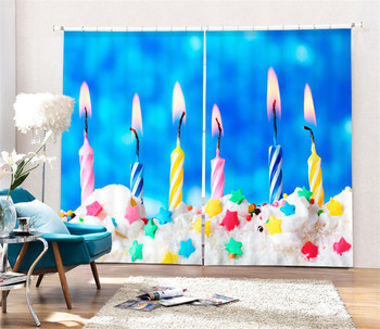 Modern Colored candles Printing 3D Blackout Curtains For kids Bedding room Living room Hotel Drapes Cortinas Para Sala