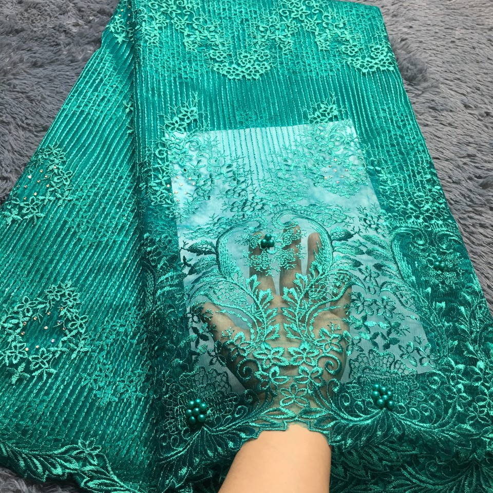 New African Lace Fabric 2018 Embroidered Nigerian Laces Fabric Teal Gold High Quality French Tulle Lace