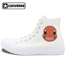 White Black Converse Shoes for Women Men Chuck Taylor II All Star Pokemon Charmander Anime High Top Canvas Sneakers