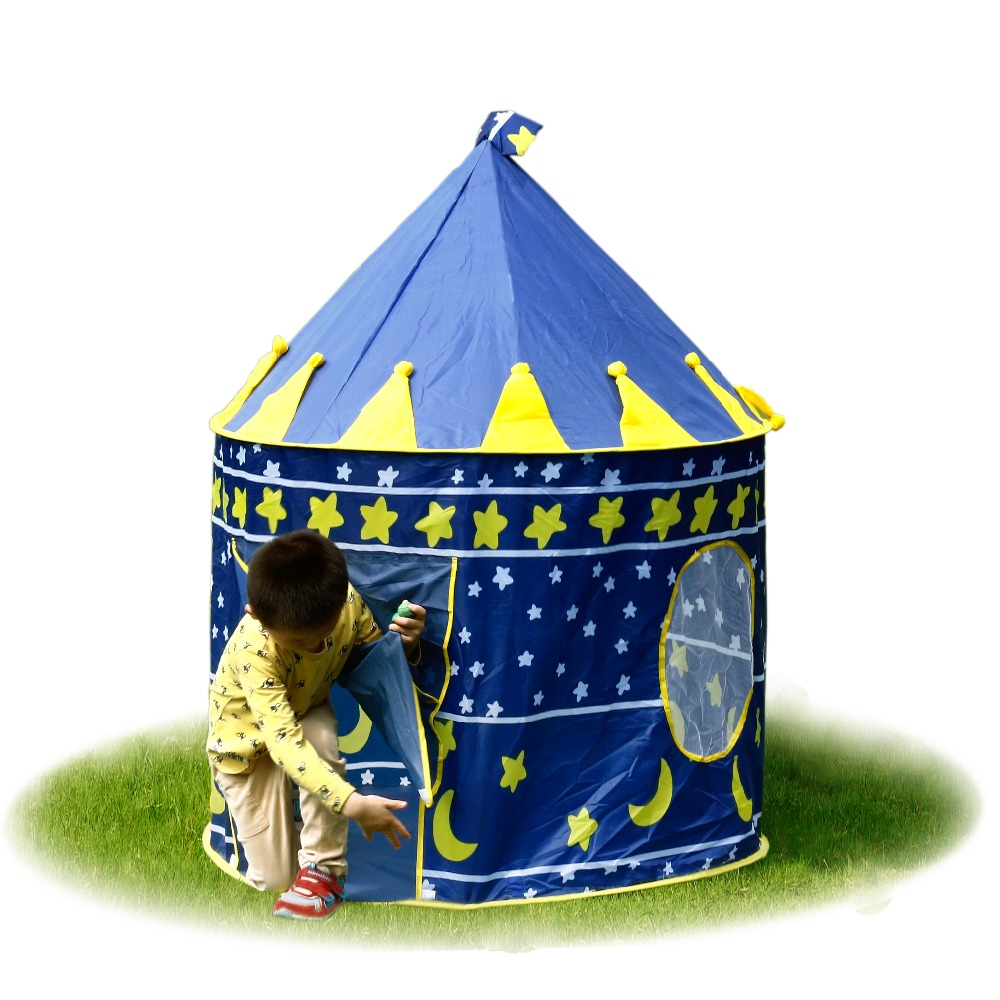 Blue/Pink Play Tent Portable Foldable Tipi Prince Folding Tent Children Boy Castle Cubby Play House Kids Gifts Outdoor Toy Tent