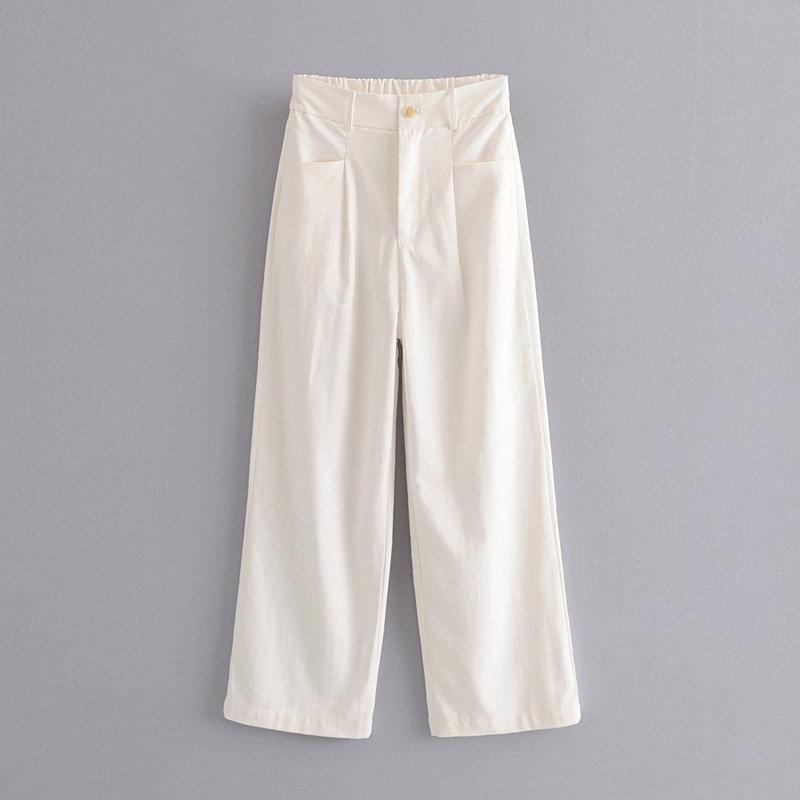 Autumn womens clothing 2019 casual white   pants   women   wide     leg     pants   high waist   pants   trousers women