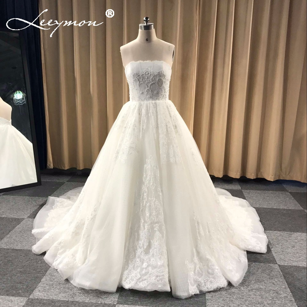 2019 Wedding Ball Gowns: Custom Made Luxury Pearls Lace Wedding Dress Strapless