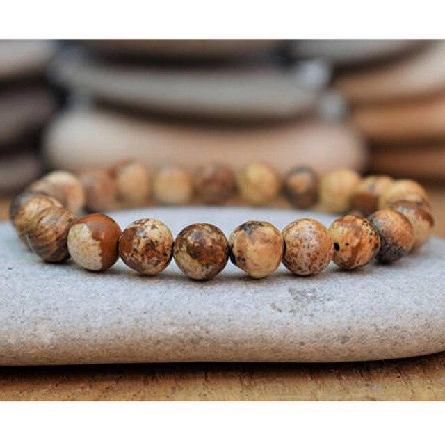 Double Bracelet Changement Positif En Unakite Jaspe Paysage Et Cornaline