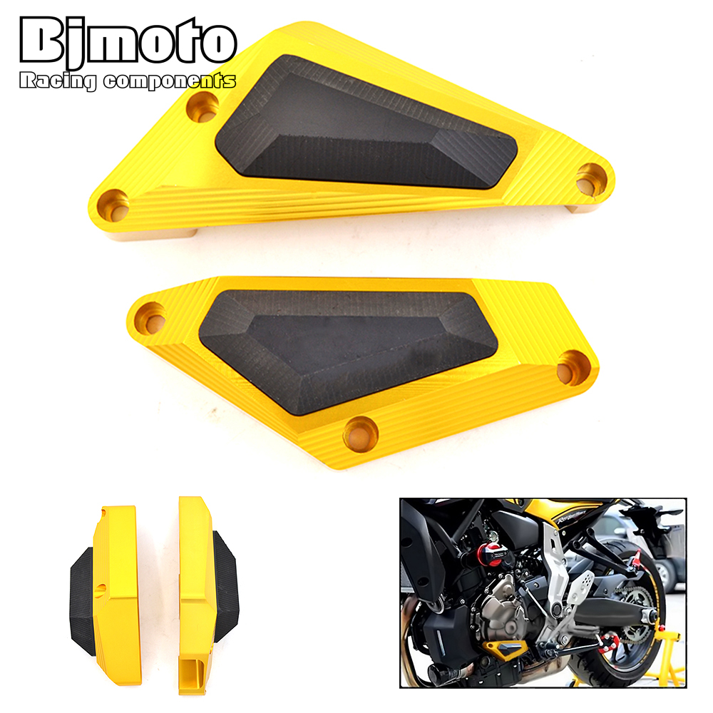 For Yamaha MT-07 2014-2017 Material Aluminum and POM Motorcycle Engine Guard Color Black Golden for yamaha mt 07 mt 07 fz07 mt07 2014 2015 2016 accessories coolant recovery tank shielding cover high quality cnc aluminum