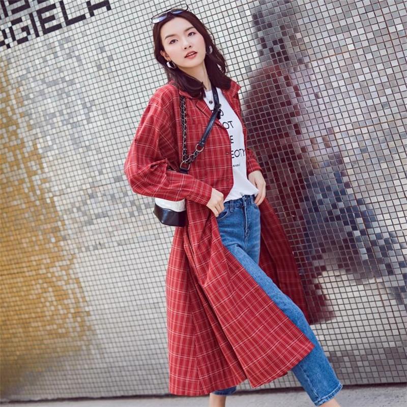 Di Ljj0139 Vento Vita 2018 Giacca Delle Della E Donne Camicette Il Autunno Femminile Red Magliette Modo Nuovo Regolabile Lungo Cappotto Allentato Molla Formato Retro A Plaid Più 4w6dqw