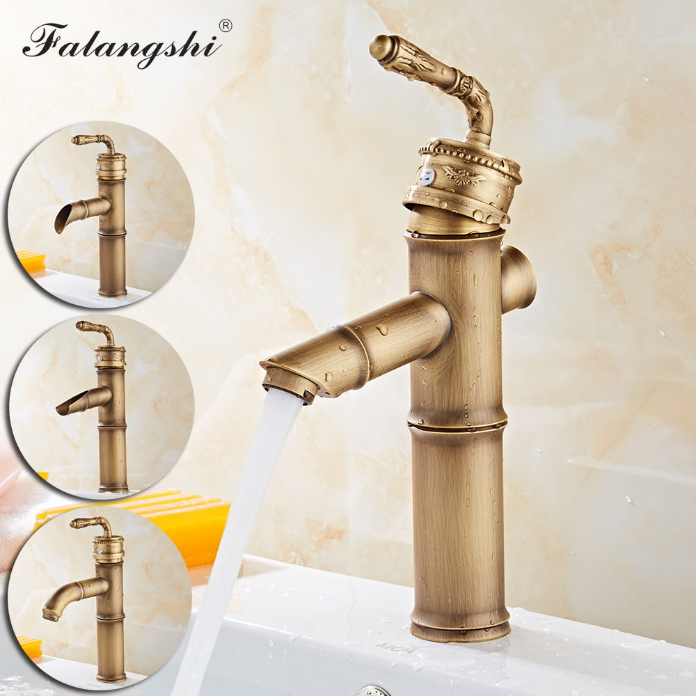 Antique Basin Faucets Sink Mixer Bamboo Shape Bathroom Hot and Cold Water Taps Vessel Vanity Sink Mixer Crane Deck Mount WB1048