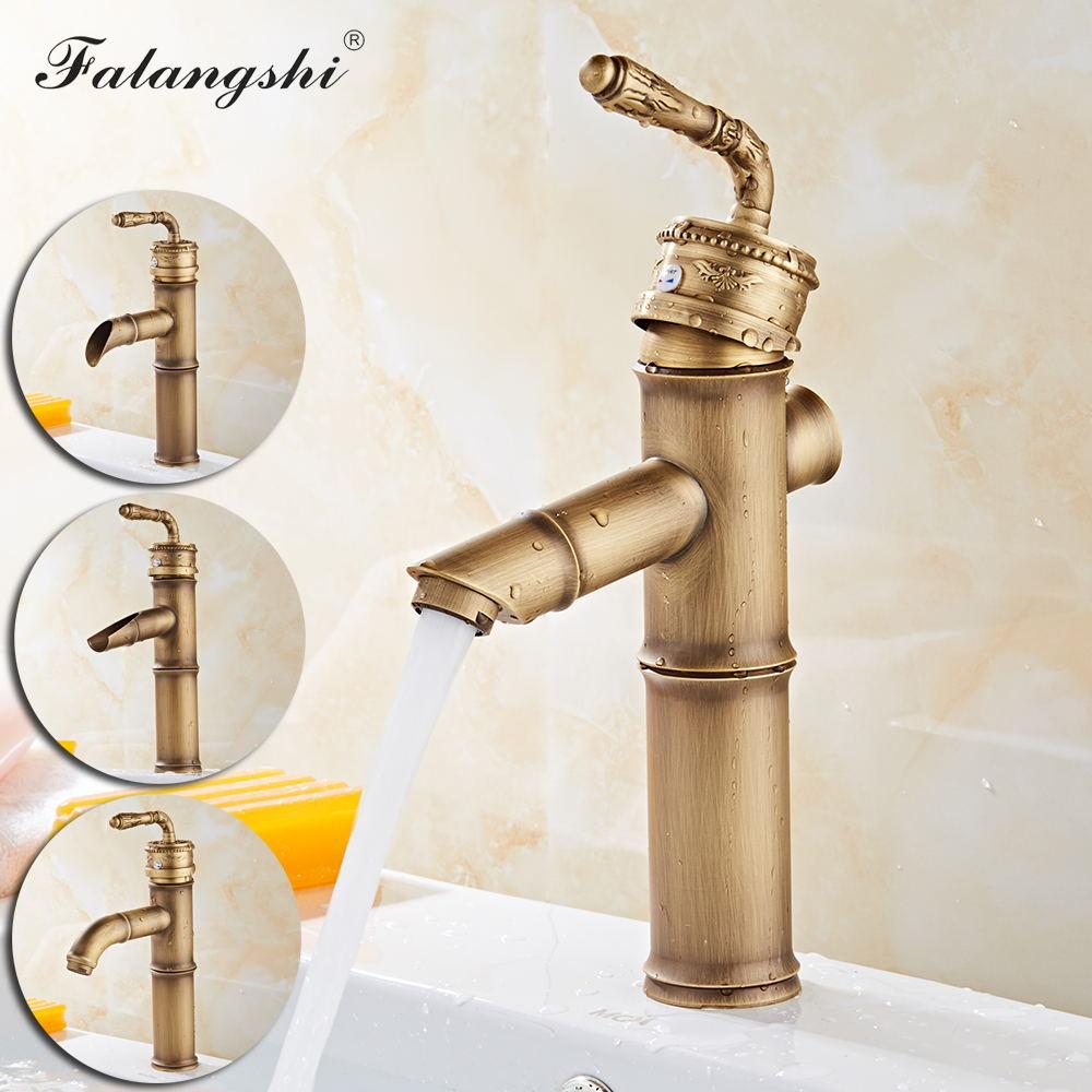Robinets de lavabo Antique   Mitigeur dévier en forme de bambou, salle de bains, robinets deau chaude et froide, navire vanité évier mélangeur de grue, support de pont WB1048