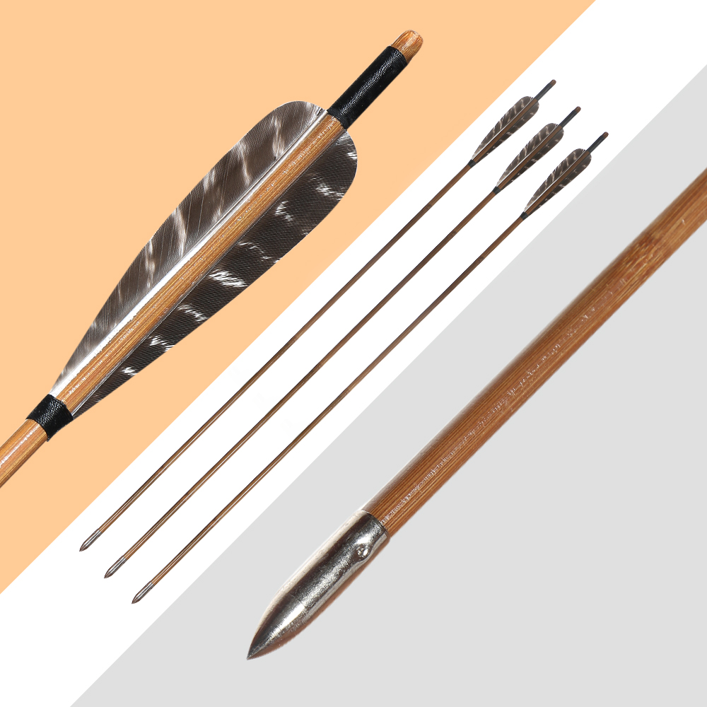 12Pc Bamboo Arrows Turkey Feather Archery Recurve Bow Arrow Tips Shooting