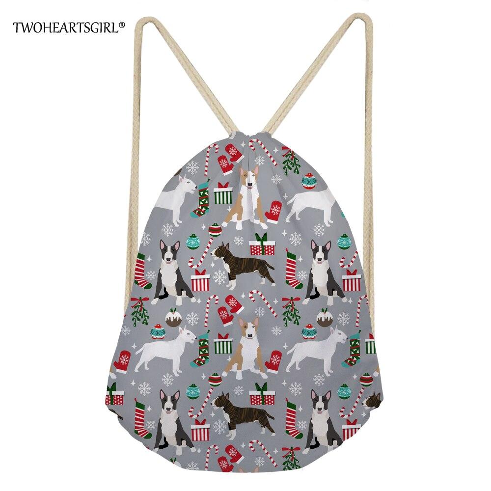 Twoheartsgirl Drawstring Bag For Women Christmas Bull Terrier Prints Teenagers Girls Fashion Lightweight Bagpack Travel Daypack