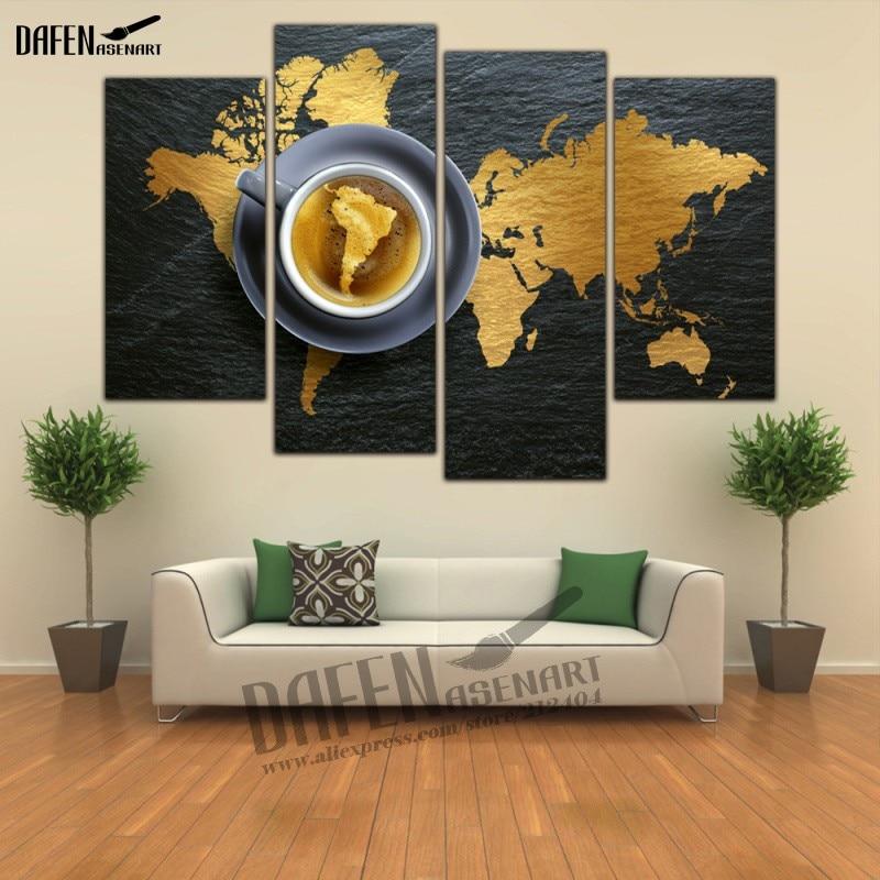 4 Panel HD gerahmte Gemälde Leinwand Karte Lupe Wandkunst Bild Home ...