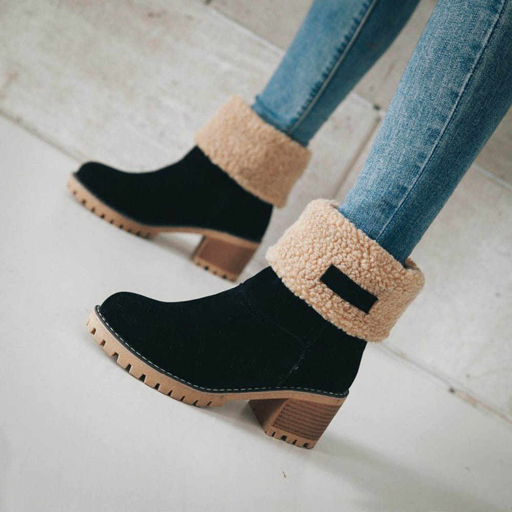 2019 Winter Women's Snow Boots Solid Warm Flock Ladies Short Boots Short Plush Inside High Heel Ankle Boots Mid-calf Boots
