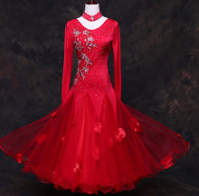 red standard ballroom dress woman Ballroom dresses standard waltz dance dress modern dance costumes Foxtrot dress tango