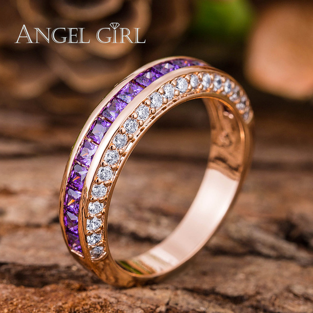 Angel Girl White Gold Rose Gold Color Engagement Ring With Purple     Angel Girl White Gold Rose Gold Color Engagement Ring With Purple Zircon  Crystal Wedding