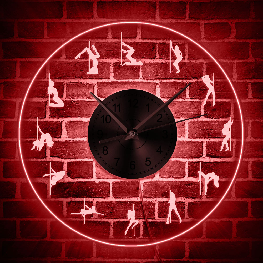 Pole Dancing LED Lighting Wall Clock Girl Dancer LED Neon Sign Wall Clock With Backlight Dance Studio Steel Tube Dance Wall Lamp