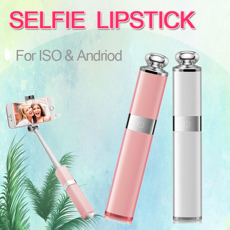 Nice Selfie Stick beautiful lipstick style for iPhone 5,6,7,plus, SAMSUNG,HTC, for ISO, Andriod, blue tooth, wireless free ship