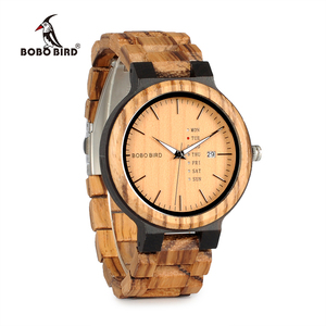 Image 3 - BOBO BIRD WO26 Zebra Wood Watch for Men with Week Display Date Quartz Watches Classic Two tone Wooden Drop Shipping