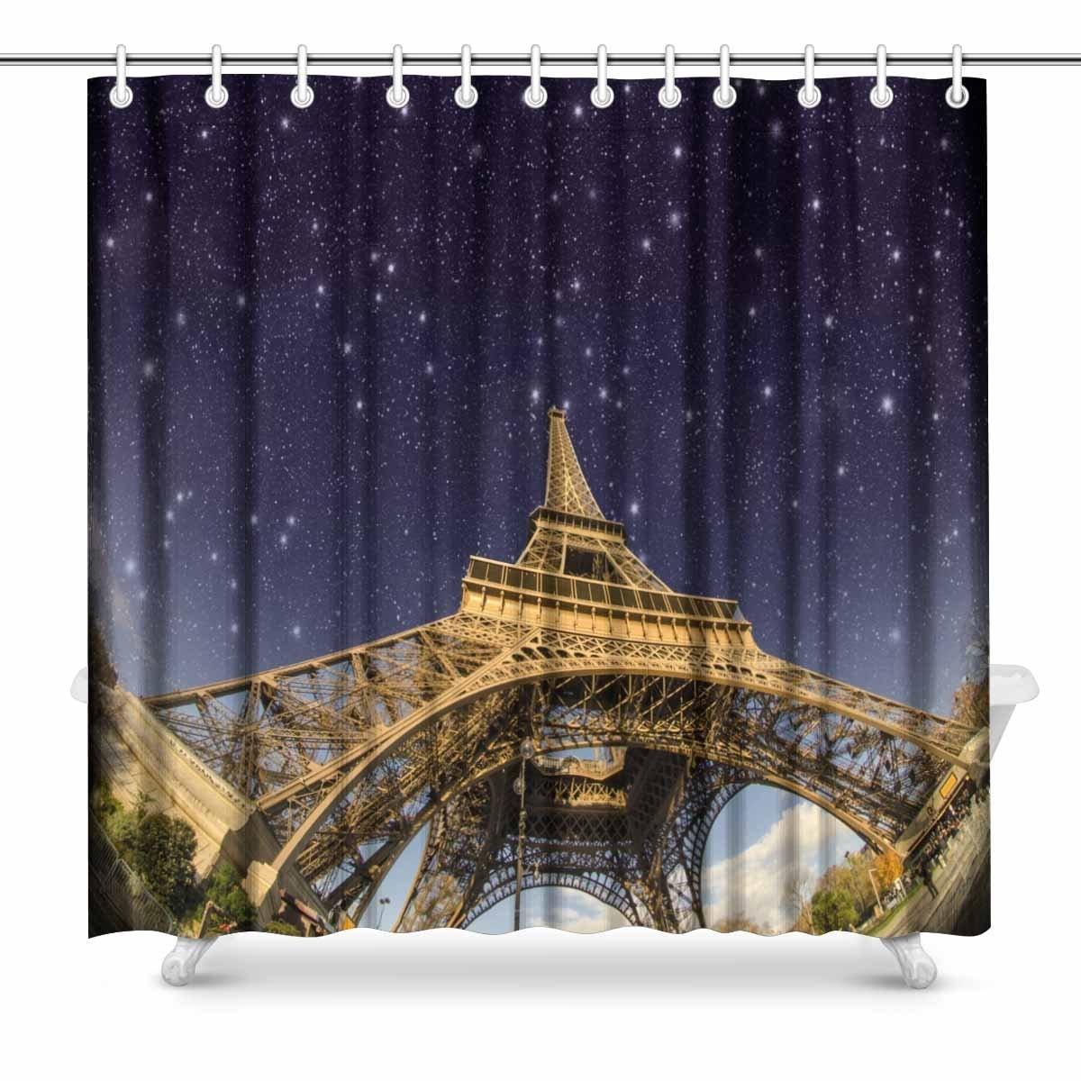 Genereus Aplysia Sterren En Night Sky Boven Eiffeltoren In Parijs Frankrijk Prints Douchegordijn Voor Badkamer Maar Toch Niet Vulgair