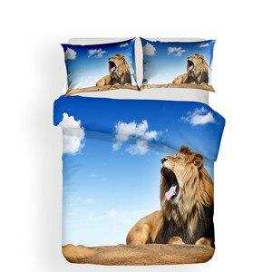 Image 2 - ชุดเครื่องนอน 3D พิมพ์ผ้านวมคลุมเตียงชุด Lion Home สิ่งทอสำหรับผู้ใหญ่เหมือนจริงผ้าปูกับปลอกหมอน # SZ04
