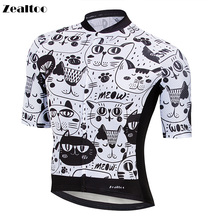 Zealtoo Black White cat style Cycling Jersey Short Sleeve MTB Bike Clothing Ropa Maillot Ciclismo Racing Bicycle Clothes