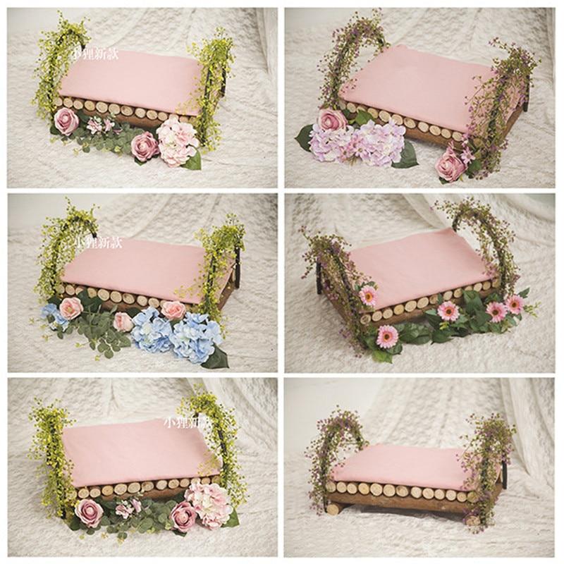 Studio photographie accessoires Vintage bois fleur lit nouveau-né photographie accessoires pour fille pour Photo Shoot accessoires Fotografia Infantil